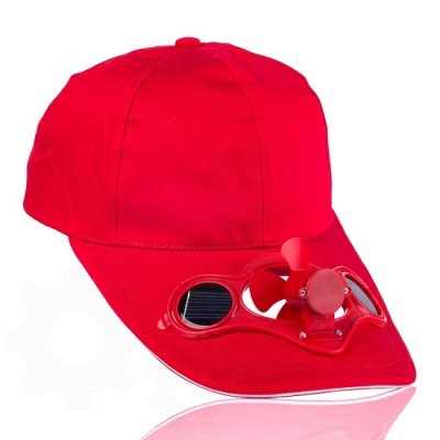 Solárna šiltovka s ventilátorom - Červená