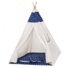 Springos Detský indiánsky stan Teepee hviezdičky - tmavo modrý