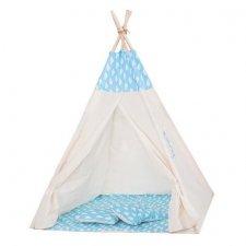 Springos Detský indiánsky stan Teepee obláčiky - modrý