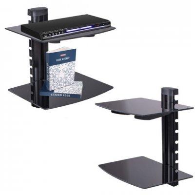 SPRINGOS Dvojitá sklenená nástenná polica k TV nastavovacia - čierna