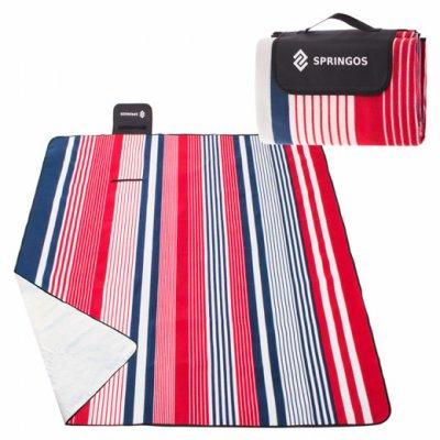 SPRINGOS Pikniková deka 200x160 pruhy - červeno-modré