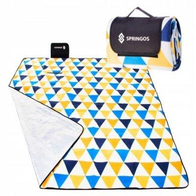 SPRINGOS Pikniková deka 200x200 trojuholníky - žlto-modrá