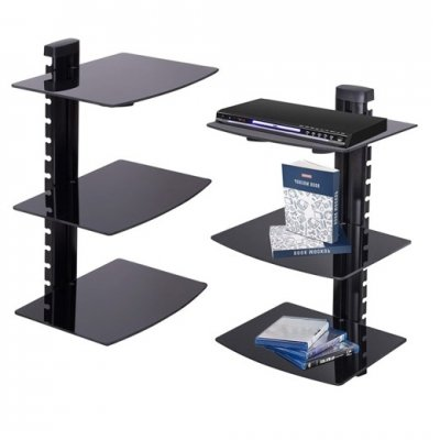 SPRINGOS Trojitá sklenená nástenná polica k TV nastavovacia - čierna