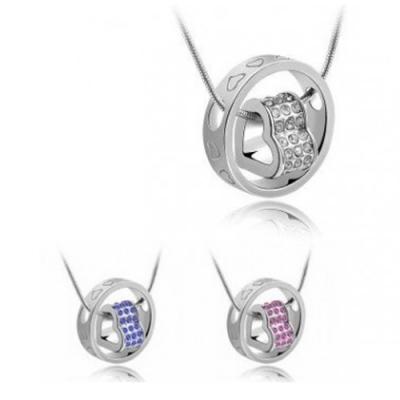 Swarovski  náhrdelník srdce v kruhu rôzne farby