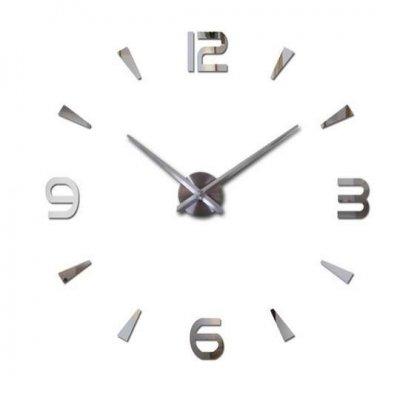 Strieborné nástenné hodiny veľké 80-120cm - 4 číslice