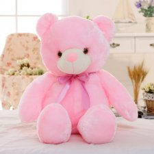 Svietiaci plyšový medvedík 45cm - Ružový