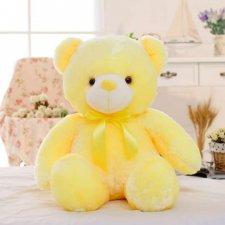 Svietiaci plyšový medvedík 45cm - Žltý