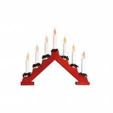Svietnik pyramída, červený, 7 žiaroviek tvaru plameňa sviečky, 230V