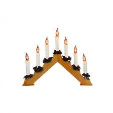 Svietnik pyramída, drevo, 7 žiaroviek tvaru plameňa sviečky, 230V