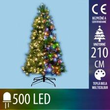Umelý Vianočný stromček s integrovaným LED osvetlením - 3D+2D ihličie - 500LED - 210CM Multicolour+Teplá biela