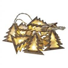 Vianočná reťaz STROMČEKY s časovačom 1,35 m 10LED IP20 2xAA teplá biela