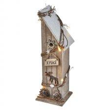 Vianočná dekorácia DOMČEK drevený s časovačom 10LED IP20 2xAA teplá biela