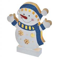 Vianočná dekorácia SNEHULIAK drevený s časovačom 5LED IP20 2xAA teplá biela