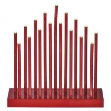 Vianočná dekorácia SVIETNIK červený s časovačom 17LED IP20 3xAA teplá biela