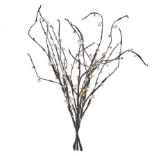 Vianočná dekorácia VETVIČKY s perlami a časovačom 24LED IP20 3xAA teplá biela - 60CM