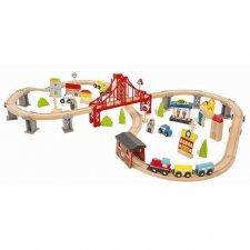 Drevená železnica + príslušentvo 70 dielov