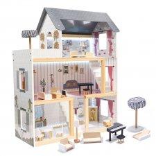 Domček pre bábiky MDF drevený s LED doplnkami 78cm čierny