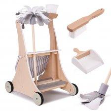 Drevený upratovací vozík + príslušenstvo
