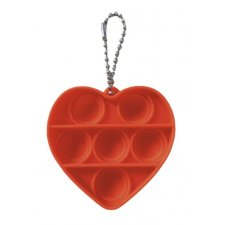 Antistresová hračka Push Bubble Pop it - prívesok červené srdiečko