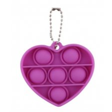 Antistresová hračka Push Bubble Pop it - prívesok fialové srdiečko
