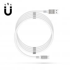 Magnetický dátový kábel - MicroUSB - 2A - biely