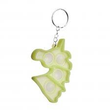 Antistresová hračka Bubble Pop it - prívesok Jednorožec žltozelený - svietiaci