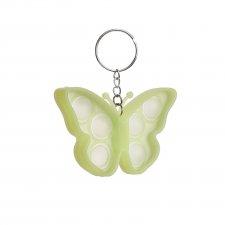 Antistresová hračka Bubble Pop it - prívesok Motýľ žltozelený - svietiaci