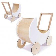 Kočík na tlačenie pre bábiky drevený biely