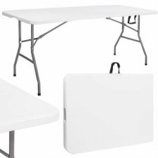 SPRINGOS Záhradný cateringový stôl skladací- 180cm - biely