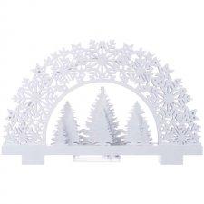 Vianočná dekorácia LED stojan STROMČEKY s čas.2xAA tep.biela