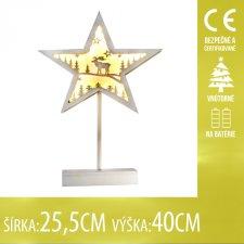 Vianočná LED svetelná ozdoba vnútorná - na batérie - Drevená hviezda - 25,5x40CM - Teplá biela