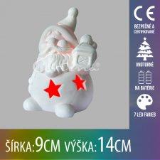 Vianočná LED svetelná ozdoba vnútorná - na batérie - porcelánový Mikuláš - 9x14CM - Multicolour
