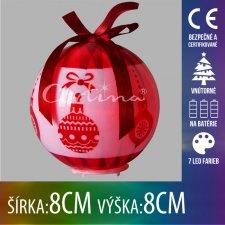 Vianočná LED svetelná ozdoba vnútorná - na batérie - vianočná guľa červená - 8x8CM - 7 LED farieb
