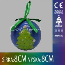 Vianočná LED svetelná ozdoba vnútorná - na batérie - vianočná guľa stromček - 8x8CM - Multicolour