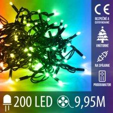 Vianočná LED svetelná reťaz na spájanie vnútorná + programy - 200LED - 9,95M Multicolour