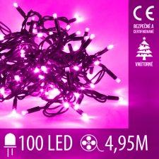 Vianočná LED svetelná reťaz vnútorná - 100LED - 4,95M Ružová