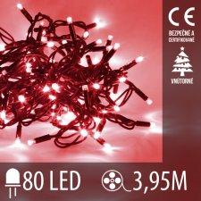 Vianočná LED svetelná reťaz vnútorná - 80LED - 3,95M Červená