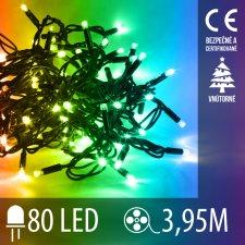Vianočná LED svetelná reťaz vnútorná - 80LED - 3,95M Multicolour