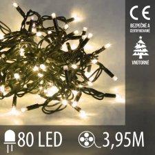 Vianočná LED svetelná reťaz vnútorná - 80LED - 3,95M Teplá biela