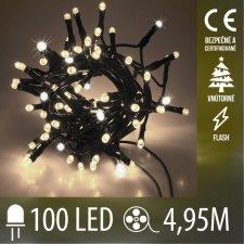 Vianočná LED svetelná reťaz vnútorná FLASH - 100LED - 4,95M Teplá Biela