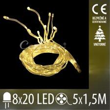 Vianočná LED svetelná reťaz vnútorná - Liany - 8x20LED - 5*1,5M Teplá biela