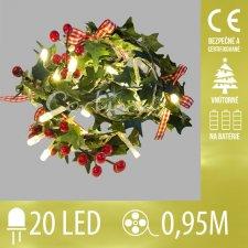Vianočná LED svetelná reťaz vnútorná na batérie - Imelo - 20LED - 0,95M Teplá biela