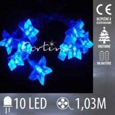 Vianočná LED svetelná reťaz vnútorná na batérie - modré hviezdy - 10LED - 1,03M Studená biela