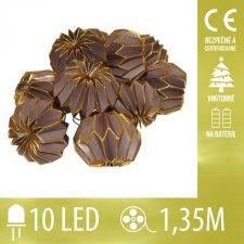 Vianočná LED svetelná reťaz vnútorná - na batérie - papierové gule - broznzové - 10LED - 1,35M Teplá biela
