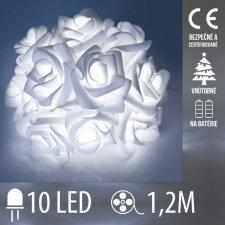 Vianočná LED svetelná reťaz vnútorná na batérie - ruže - 10LED - 1,2M Studená biela