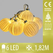 Vianočná LED svetelná reťaz vnútorná na batérie - zlaté gule - 6LED - 1,82M Teplá biela