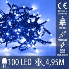 Vianočná LED svetelná reťaz vnútorná na spájanie FLASH - 100LED - 4,95M Modrá+Studená biela