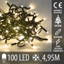 Vianočná LED svetelná reťaz vnútorná na spájanie FLASH - 100LED - 4,95M Teplá Biela+Studená biela