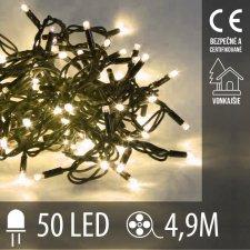 Vianočná LED svetelná reťaz vonkajšia - 50LED - 4,9M Teplá biela