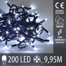 Vianočná LED svetelná reťaz vonkajšia FLASH - 200LED - 9,95M Studená Biela+Teplá Biela